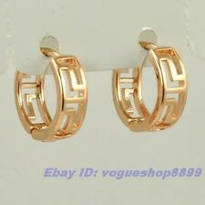 "0.5"" REAL CHARMING 18K ROSE GOLD GP HOOP EARRING GREEK KEY SOLID FILL GEP EAR"
