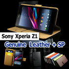 Cover for Sony Xperia Z1 Genuine Leather Plain Case Black For Sony Ericsson