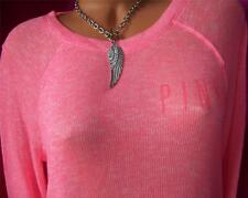 NWT VICTORIA'S SECRET *LOVE PINK* COZY LOGO SHEER PULLOVER CREW SWEATER *S* SO