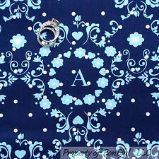 BonEful Fabric BTY Cotton Quilt Navy BLUE White Baby Boy Calico Letter Heart DOT