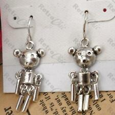 KITSCH cute ROBOT BEAR drop EARRINGS vintage silver pltd QUIRKY sad teddy RETRO
