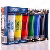 6 x ASSORTED COLOUR ACRYLIC PAINT SET Artist Art/Craft Large 75ml Painting Tubes