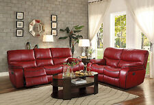 SURREY - Modern Red Faux Leather Power Recliner Sofa Set Living Room Furniture