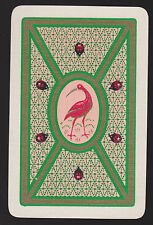 1 Single VINTAGE Swap/Playing Card BIRD IBIS & LADY BEETLES Gold Detail
