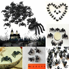 100pcs Halloween Fake Spider Joking Toys Party Decor Prop Insects Bugs Decor Hot