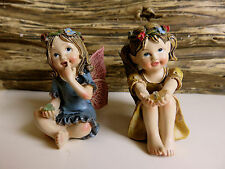"4 Miniature Fairies Village Ornaments Figurines 1.25"" Resin includes 4"