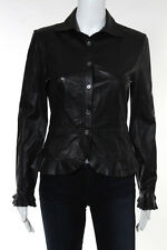 The Wrights Black Leather Long Sleeve Button Down Top Size 4