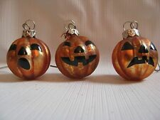 3  Glass Halloween mini Ball Jack-O-Lantern ornaments 1-1/2""