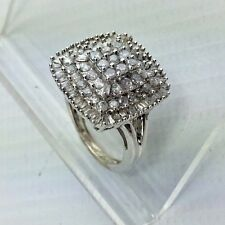 Sterling Silver & Diamond Ring - .75 cttw Diamonds - Size 5 - Step Up Cocktail