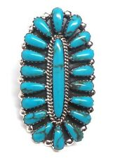 Navajo Handmade Sterling Silver Cluster Turquoise Ring Size 6.5 -D. Begay