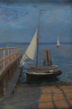 Ludwig DILL ? - Sailing boat at one Jetty