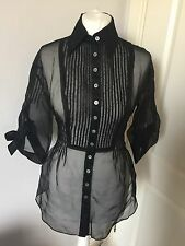 Gorgeous Karen Millen Black Sheer Button Down Shirt Blouse UK 6 Worn Twice