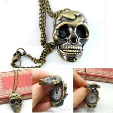 Vintage Skull Retro Bronze Design Pocket Watch Quartz Pendant Necklace Gift