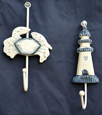 Blue and White Wooden Crab and Lighthouse Wall Hook Set of Two