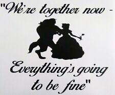 VINYL WALL ART STICKER BEAUTY AND THE BEAST TOGETHER  IDEAL FOR FRAMES CRAFT