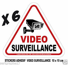 Lot de 6 stickers adhesif camera video surveillance / format 10x10cm / ref SV01
