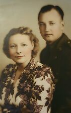 Vintage 8x10 Photograph Portrait American Soldier and Wife Girlfriend Picture