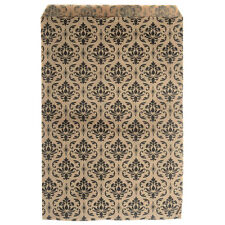 Paper Gift Bags, for Jewelry & Crafts 9x6 In, Brown w/ Black Damask Ptrn 100Pcs
