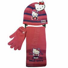 Hello Kitty Pink 3 Piece Set Hat Gloves and Scarf 4-8 Years 104-128cm