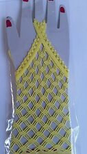 Gothic Vintage yellow Fishnet Lace fetish Fancy Dress burlesque gloves sexy