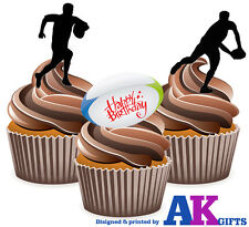 12 Edible Birthday Cup Cake Toppers Happy Birthday Silhouette Players Rugby Mix