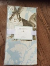 """S/4 Williams Sonoma Easter Bunny Painterly Damask Napkins 20"""" Square"""