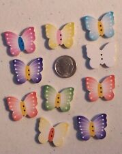 """Lot of 10 BUTTERFLY 2-hole Wood Buttons 20mm x 24mm Scrapbook Craft (1000) 3/4"""""""