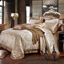 Luxury 6pc. Silk Cotton Dark Beige King Size European Style Duvet Cover Bed Set