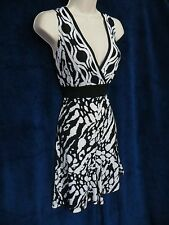 NWT Connected Apparel Black White Animal Stretch Tie Back Short Romper Dress 8