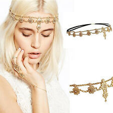 Fashion Pearl Rhinestone Flower Headband Tassel Chain Head Piece Hair Jewelry