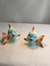 Vintage Japan Fish with Lipstick Ceramic Salt & Pepper Shakers Anthropomorphic