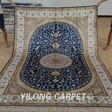 Yilong 6'x9' Handknotted Silk Persian Rug Hereke Living Room Blue Carpet 1226