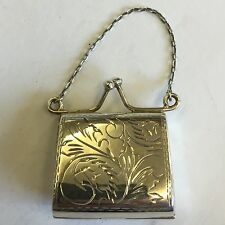 Vintage Antique Style Solid Silver Novelty Purse Pill / Trinket Box 3.4cm