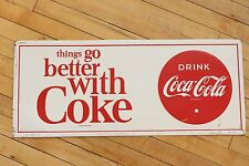 1966 things go better with Coke Coca-Cola Metal Sign Tin Coke Button