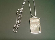 Footprints in the Sand ~ Engraved Quotation Pendant / Dog Tag Necklace & chain
