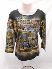 Womens Vintage Jane Ashley Cotton Black Casual Shirt Small S New NWOT 06