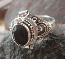 925 Solid Silver Balinese Poison Locket Ring With Smokey Quartz Size 7-H67