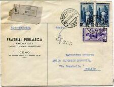 1951 Italia al Lavoro RACCOMANDATA Coloniali Fratelli Perlasca Como FRAGD