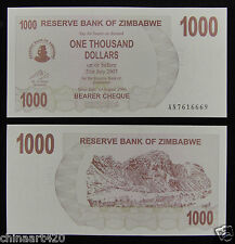 ZIMBABWE PAPER MONEY 1000 DOLLARS 2007 UNC
