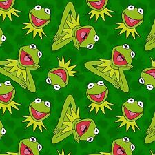"""Disney Kermit Frog Toss Green 100% cotton 43"""" Fabric by the yard"""