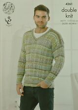 KNITTING PATTERN Mens & Boys Long Sleeve V-Neck Cable Rib Jumper DK KC 4261