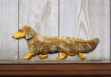 Dachshund Long Hair Dog Figurine Sign Plaque Display Wall Decoration Red Dapple