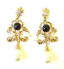 Black Gold Ivory White Pearl Chandelier Earrings Drop Stud 1920s Flapper 1131