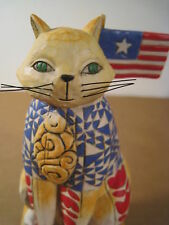 Jim Shore Freedom Cat 2003 With Liberty & Justice for All Patriotic