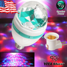 E27 3W RGB Crystal Magic Ball Rotating LED Stage Light Club Disco Party + Plug