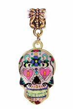 Day of the Dead Sugar Skull Mexico Pink Gold Dangle Bead for Euro Charm Bracelet