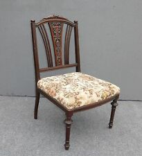 ANTIQUE  VICTORIAN CARVED WOOD CHAIR TAPESTRY STYLE ACCENT