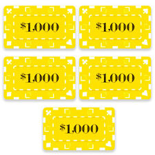5 Ct Square Rectangular 32 Gram $1000 Yellow Poker Plaques Square Chips