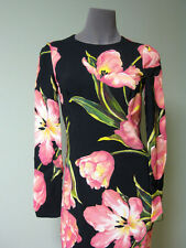 Dolce & Gabbana AUTH NWT Pink Tulip Blooms Cady Sheath Dress 40 Long Sleeves