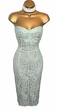 Gorgeous KAREN MILLEN Mint Green LACE Cocktail DRESS UK 10 Wedding Occasion